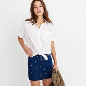 Madewell short sleeve tie front white blouse